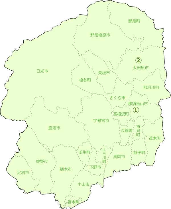 栃木県地図-肉牛